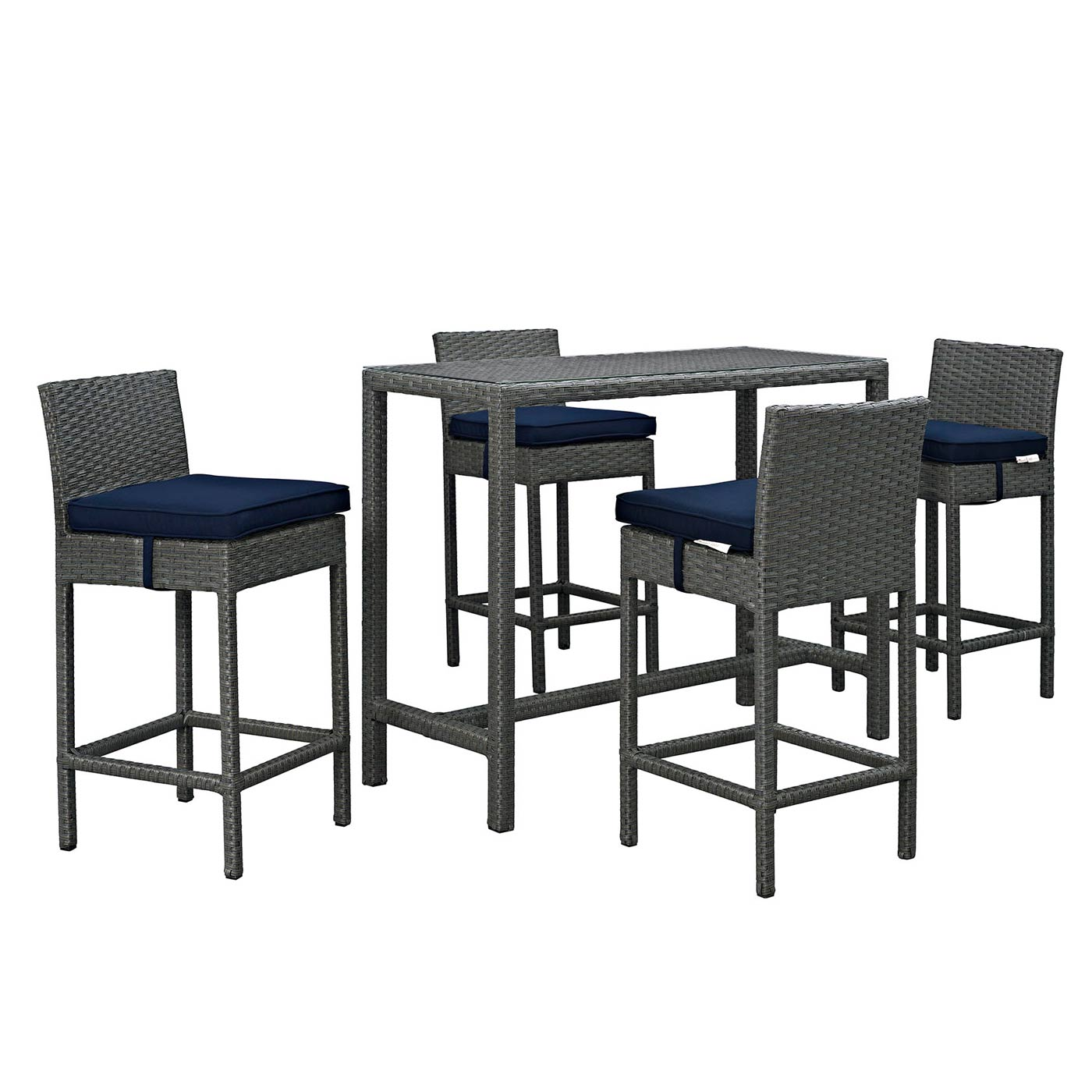 modway sojourn 5 outdoor patio bar height dining set