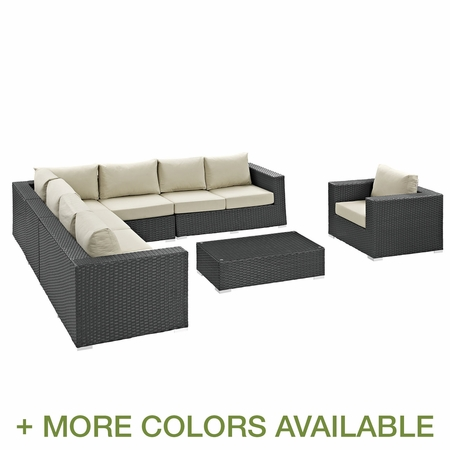 Modway Sojourn 7 Piece Rattan Weave Outdoor Patio Sectional Set with Cushions