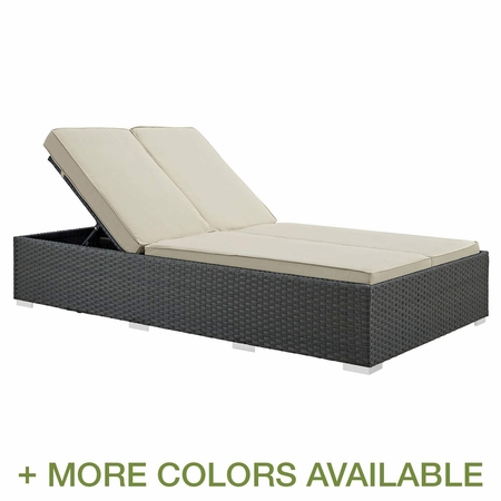 Modway Sojourn Outdoor Rattan Weave Chaise with Cushion