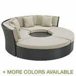 Modway Sojourn Outdoor Rattan Weave Daybed with Cushions