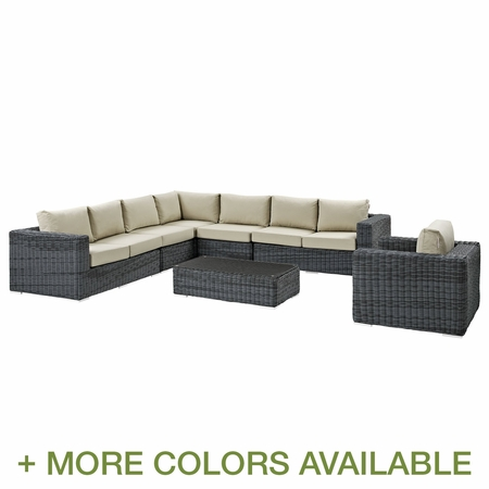 Modway Summon 7 Piece Rattan Weave Outdoor Patio Sectional Set with Cushions