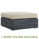 Modway Summon Outdoor Patio Square Ottoman with Cushion