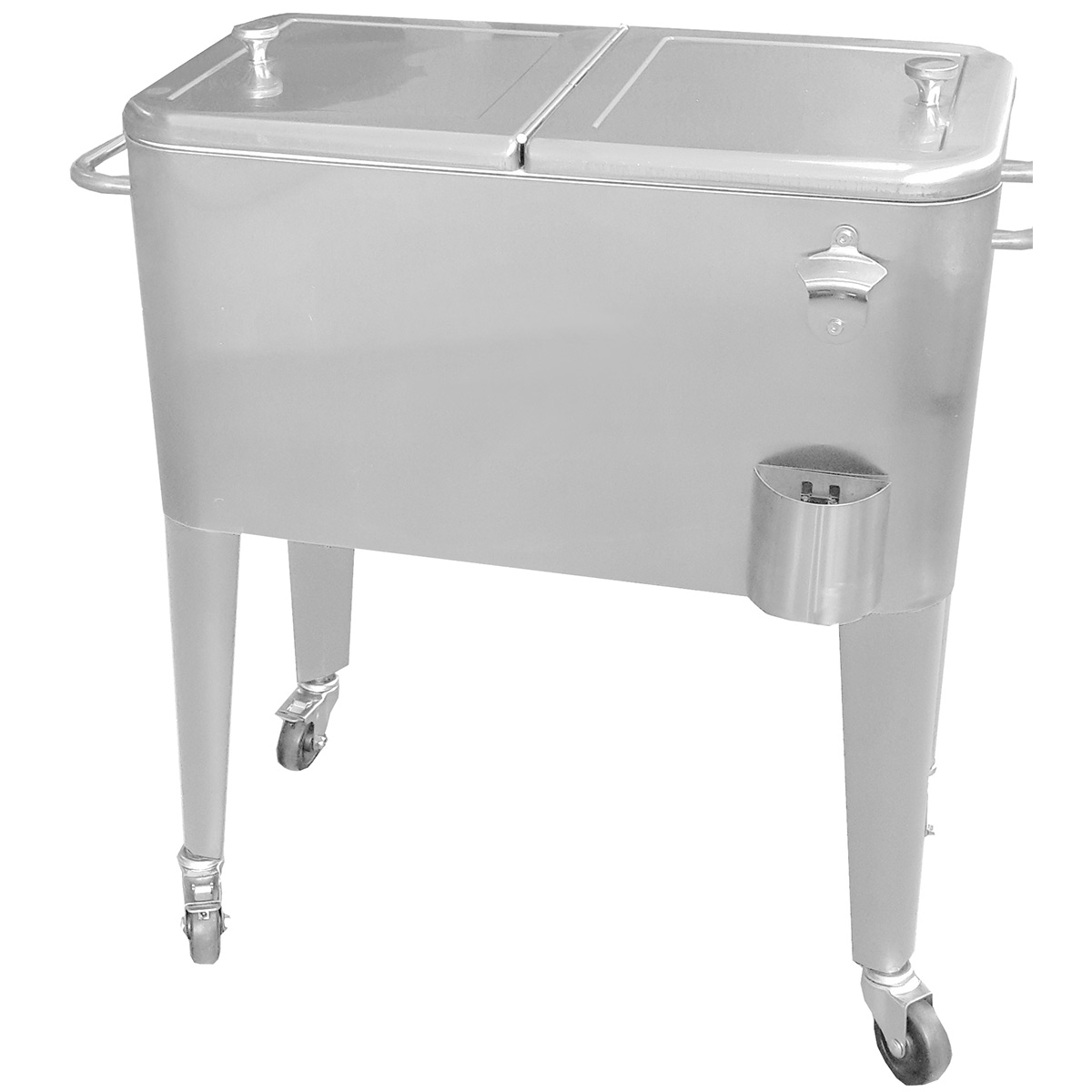 Oakland Living 20 Gallon Patio Cooler Cart With Insulated Basin And Lock Wheels In Stainless Steel