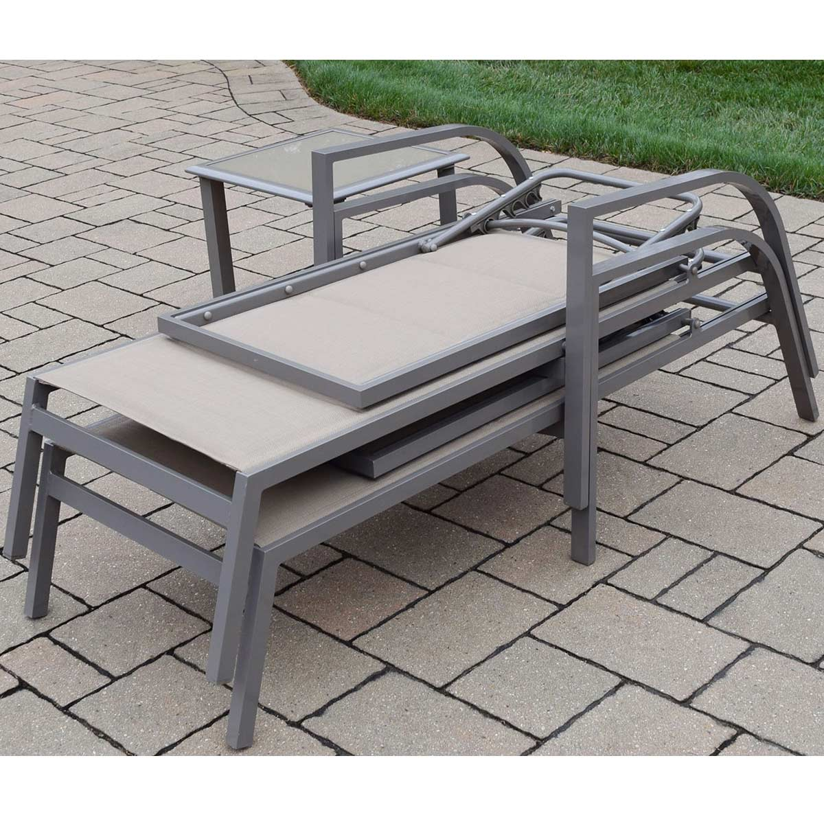 Oakland Living 3 Piece Padded Sling Aluminum Chaise Lounge