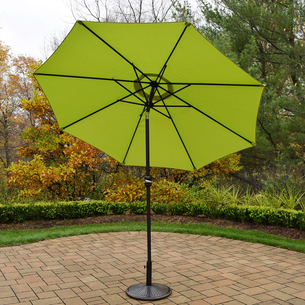 Oakland Living 9 Ft Metal Framed Umbrella With Crank Plus