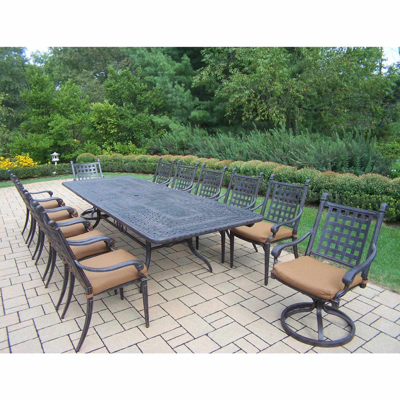 Oakland Living Belmont 13 Piece Expandable Outdoor Dining Set With  Sunbrella Cushions