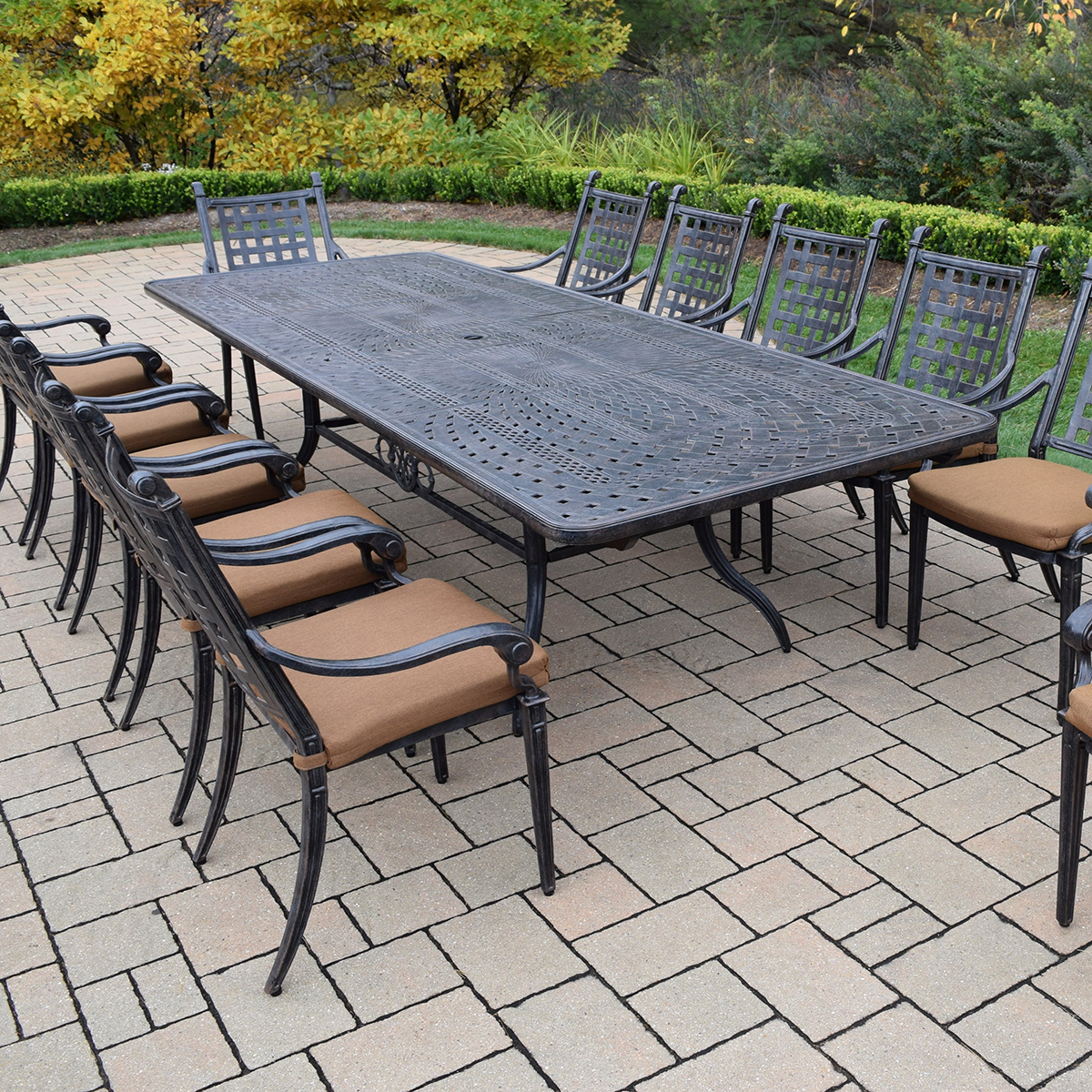 Oakland Living Belmont Aluminum 13 Piece Expandable Patio Dining Set With 12