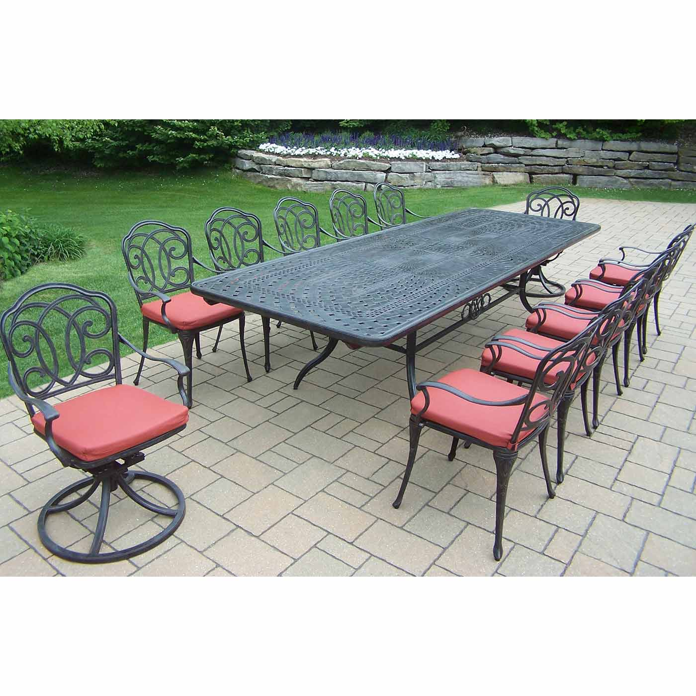 Great Oakland Living Berkley 13 Piece Outdoor Patio Set With Extendable Table, 10  Chairs, 2 Swivel Rockers And Cushions