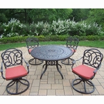 "Oakland Living Berkley 5 Piece Set with 46"" Round Table and 4 Cushioned Swivel Rockers"