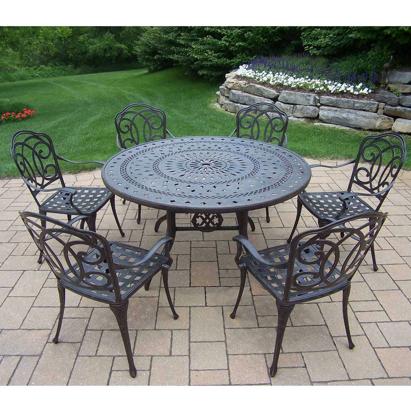 "Oakland Living Berkley 7 Piece Aged Patio Set with 54"" Round Table"