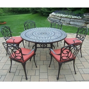 """Oakland Living  Berkley 7 Piece Aged Patio Set with 54"""" Round Table and 6 Cushioned Chairs"""