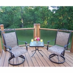 """Oakland Living Cascade 3 Piece Swivel Chat Set with Two Rockers and a 20"""" Side Table in Coffee"""