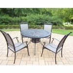 """Oakland Living Cascade 5 Piece 48"""" Sunray Table Set with 4 Stackable Chairs in Black"""