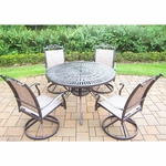 "Oakland Living  Cascade 7 Piece Outdoor Rocker Set with 48"" Sunray Table and 4 Swivel Rockers in Coffee"