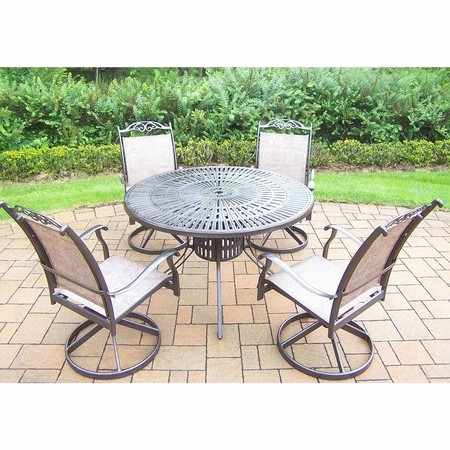 """Oakland Living Cascade 7 Piece Outdoor Rocker Set with 48"""" Sunray Table and 4 Swivel Rockers in Coffee"""