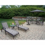 Oakland Living Cascade 9 Piece Dining Set with 2 Chaise Lounges and Tilting Umbrella and Stand in Coffee