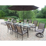 Oakland Living Cascade 9 Piece Dining Set with 6 Stackable Chairs in Coffee