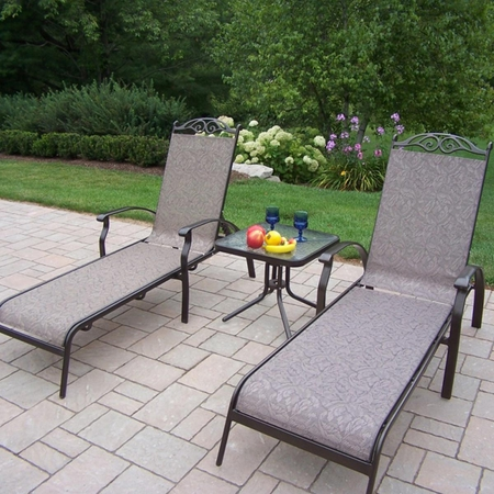 """Oakland Living Cascade Sling 2 Chaise Lounge Set with 20"""" End Table in Coffee"""