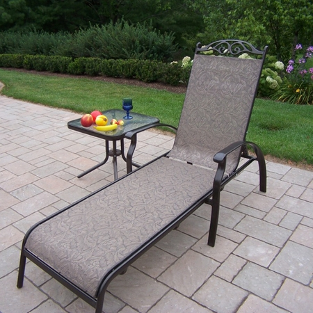 """Oakland Living Cascade Sling 2 Piece Chaise Lounge Set with 20"""" Side Table in Coffee"""