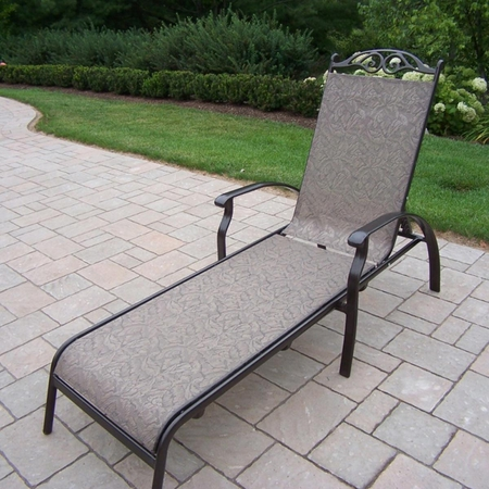 Oakland Living Cascade Sling Chaise Lounge in Coffee