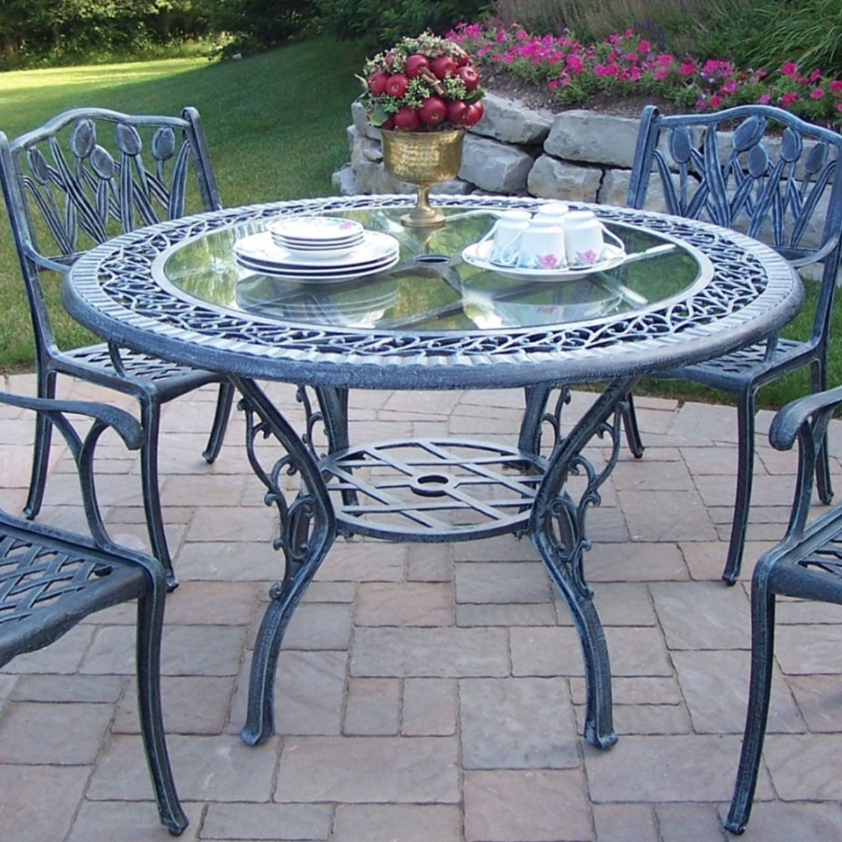 "Oakland Living Cast Aluminum 48"" Round Patio Dining Table"