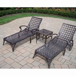 """Oakland Living Elite 2 Chaise Lounges with 18"""" Side Table Set in Antique Bronze"""