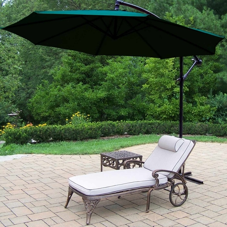Oakland Living Elite Cast Aluminum 1 Cushioned Chaise Set with Table and Green 10' Cantilever Umbrella in Antique Bronze