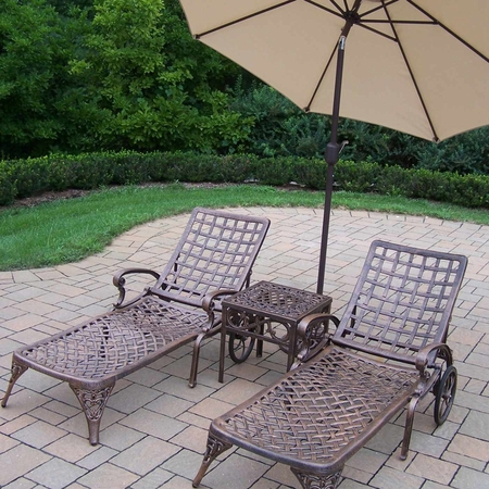Oakland Living Elite Cast Aluminum 2 Chaise Lounges with 18' Table and Beige 9' Umbrella and Stand in Antique Bronze