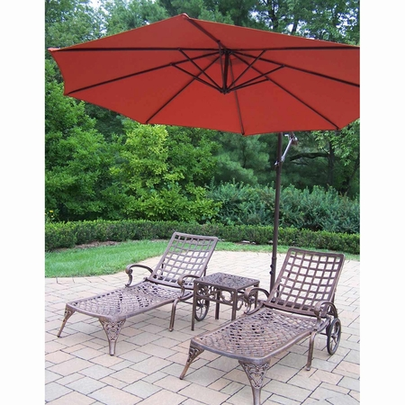 """Oakland Living Elite Cast Aluminum 2 Chaise Lounges with 18"""" Table and Burnt Orange 10' Cantilever Umbrella in Antique Bronze"""