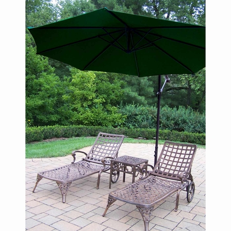 """Oakland Living Elite Cast Aluminum 2 Chaise Lounges with 18"""" Table and Green 10' Cantilever Umbrella in Antique Bronze"""