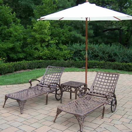 Oakland Living Elite Cast Aluminum 2 Chaise Lounges with 18' Table and White 9' Umbrella and Stand in Antique Bronze