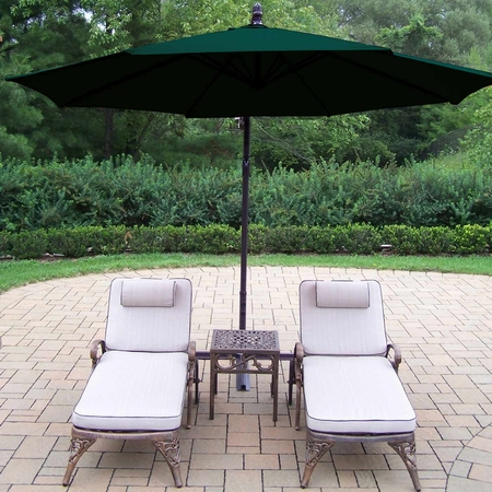 """Oakland Living Elite Cast Aluminum 2 Cushioned Chaise Lounges with 18"""" Table and Green 10' Cantilever Umbrella in Antique Bronze"""