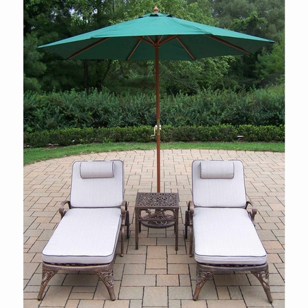 Oakland Living Elite Cast Aluminum 2 Cushioned Chaise Lounges with Side Table and Green Umbrella in Antique Bronze