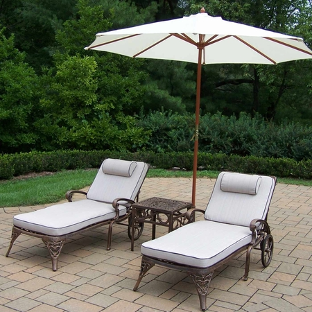 Oakland Living Elite Cast Aluminum 2 Cushioned Chaise Lounges with Side Table and White Umbrella in Antique Bronze