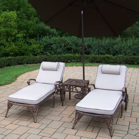 Oakland Living Elite Cast Aluminum Antique Bronze Outdoor 2 Cushioned Chaise Lounge with Table and Brown Umbrella