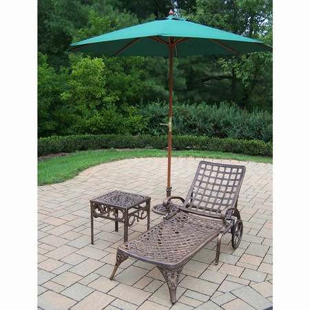 Oakland Living Elite Cast Aluminum Chaise Lounge with Side Table and 9' Umbrella and Stand in Antique Bronze