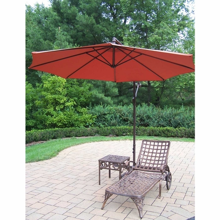 Oakland Living Elite Cast Aluminum Chaise Lounge with Side Table and Burnt Orange 10' Cantilever Umbrella in Antique Bronze