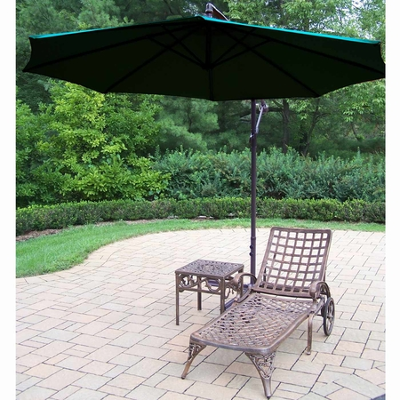 Oakland Living Elite Cast Aluminum Chaise Lounge with Side Table and Green 10' Cantilever Umbrella in Antique Bronze