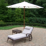 Oakland Living Elite Cast Aluminum Chaise Lounge with Side Table and White 9' Umbrella and Stand in Antique Bronze