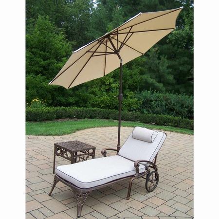 Oakland Living Elite Cast Aluminum Cushioned Chaise with Side Table and Beige 9' Umbrella and Stand in Antique Bronze