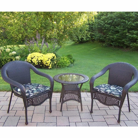 Oakland Living Elite Resin Wicker 3 Piece Patio Set with Black Floral Cushions in Coffee