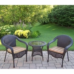 Oakland Living Elite Resin Wicker 3 Piece Patio Set with Green Stripe Cushions in Coffee