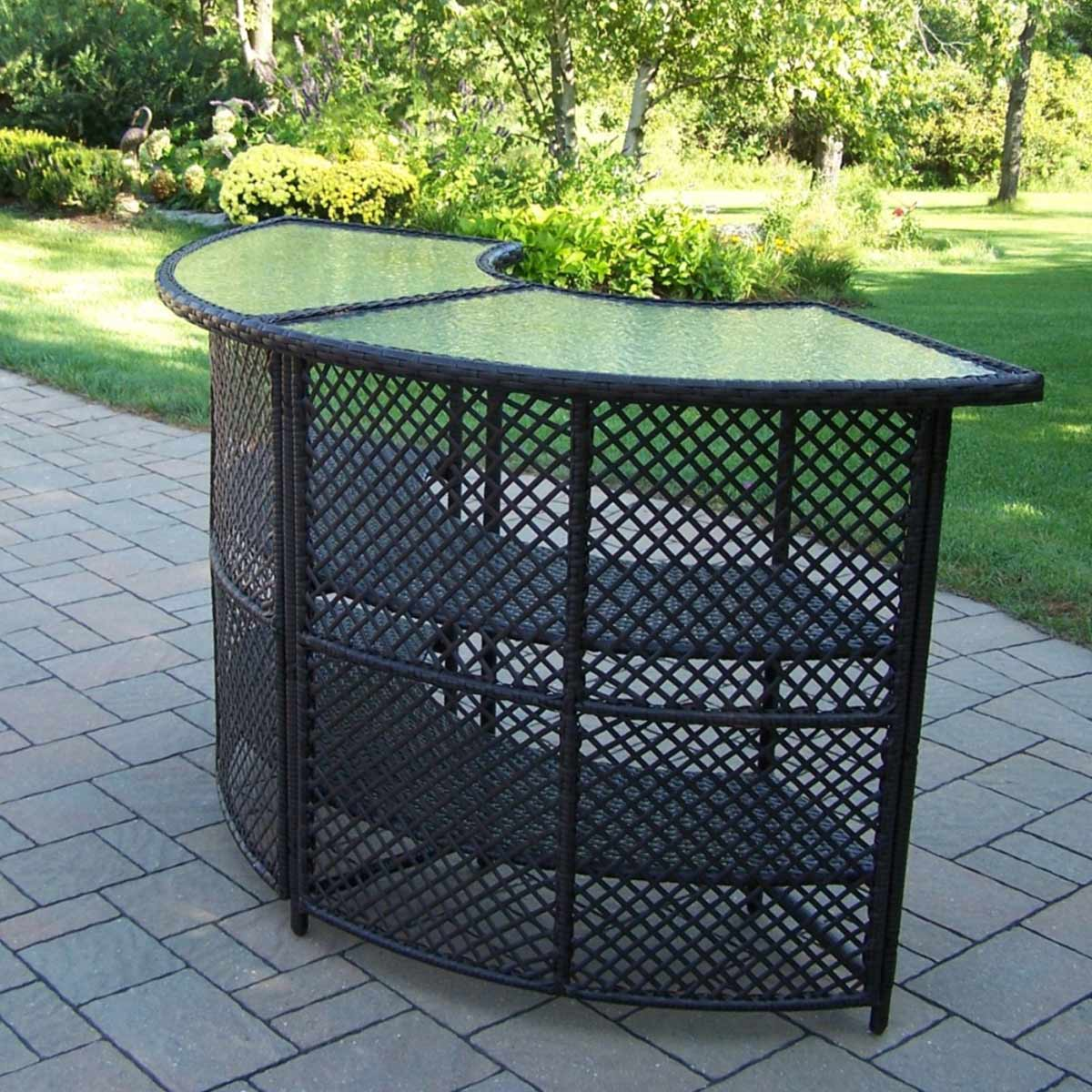 Oakland Living Half Round Outdoor Wicker Bar Table In Coffee