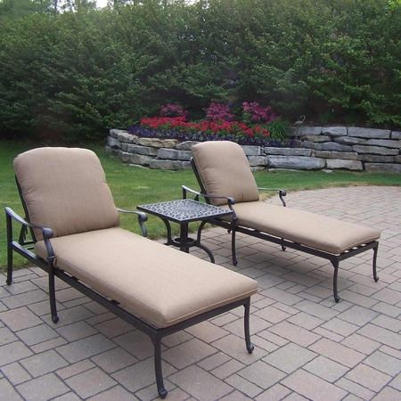 Oakland Living Hampton 3 Piece Chaise Lounge Set with Cushions in Antique Black