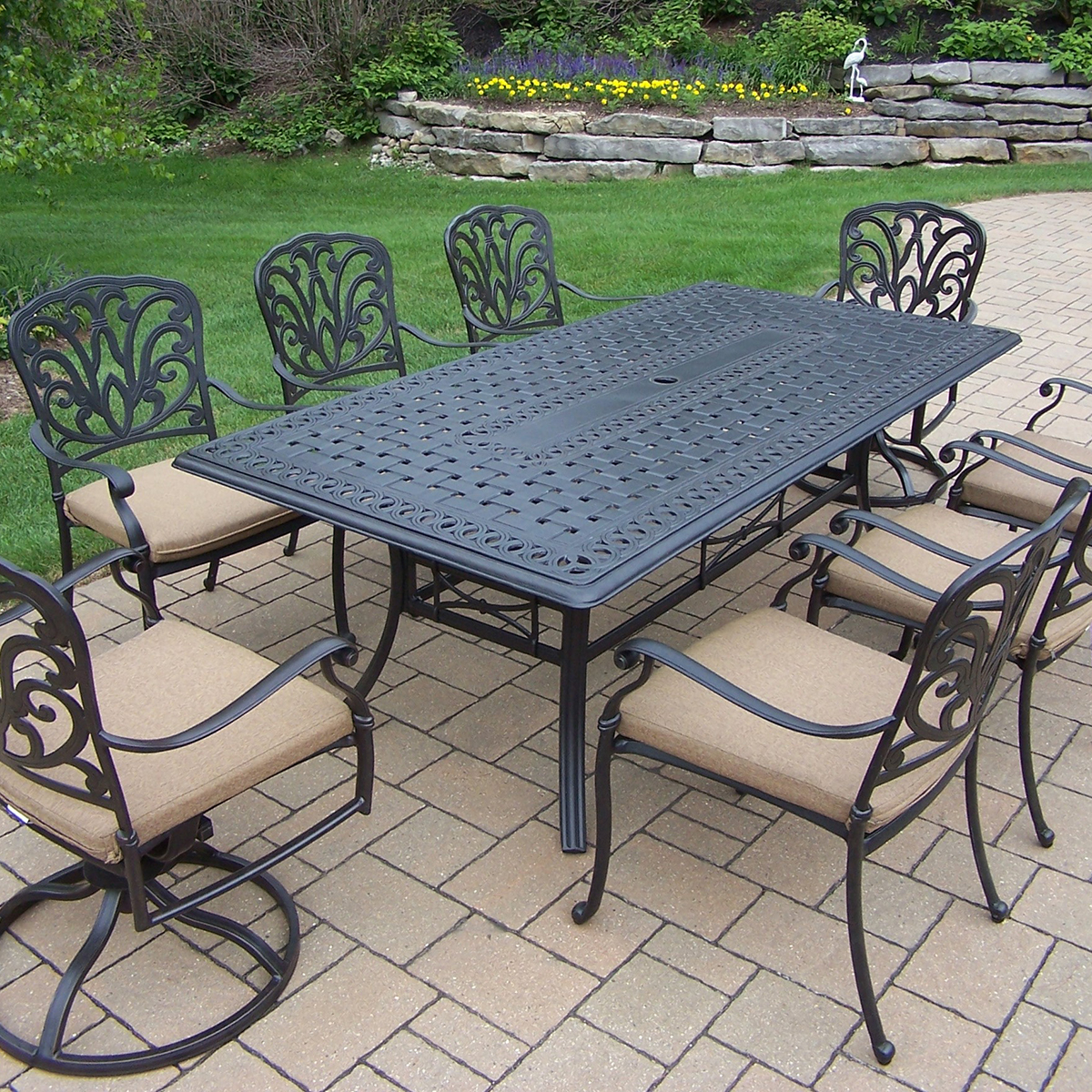 Oakland Living Hampton Aluminum 9 Pc Dining Set With