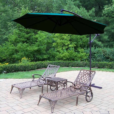 Oakland Living Mississippi 2 Chaise Lounges with Side Table and 10' Green Cantilever Umbrella in Antique Bronze