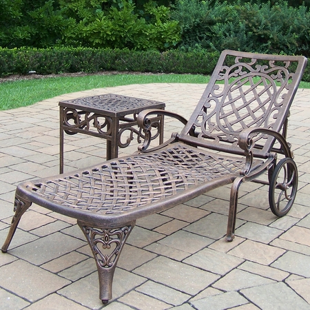 """Oakland Living Mississippi 2 Piece Cast Aluminum Lounge Set with 1 Chaise Lounge and 17"""" Square Side Table in Antique Bronze"""