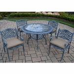 """Oakland Living Mississippi 5 Piece Cast Aluminum Patio Dining Set with 48"""" Round Table and 4 Cushioned Arm Chairs in Verdi Grey"""