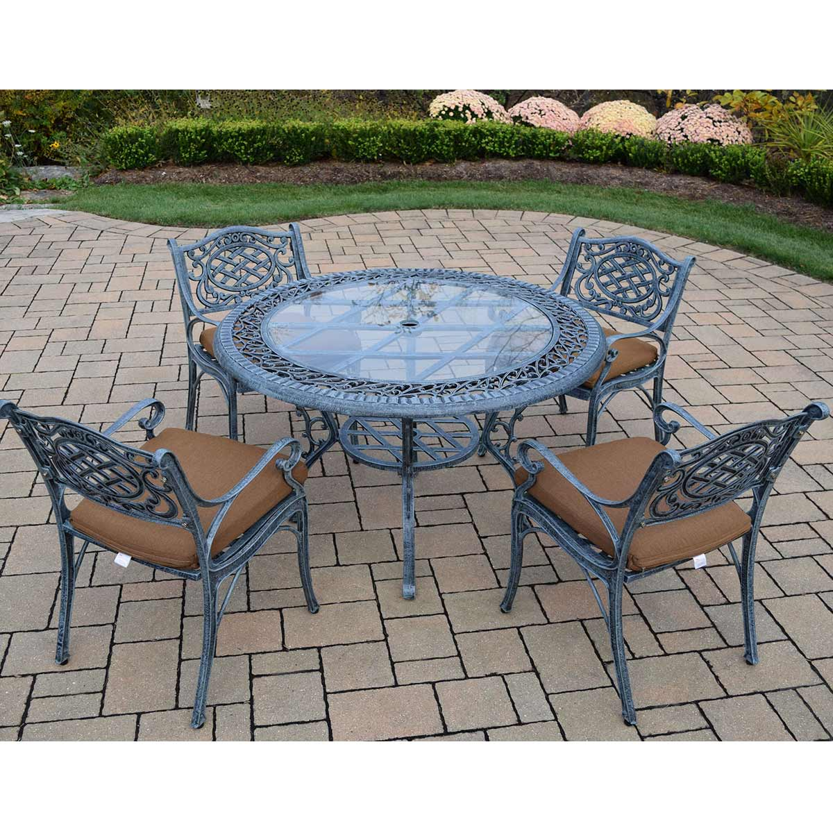 mississippi 5pc cast aluminum patio dining set with 48 round table