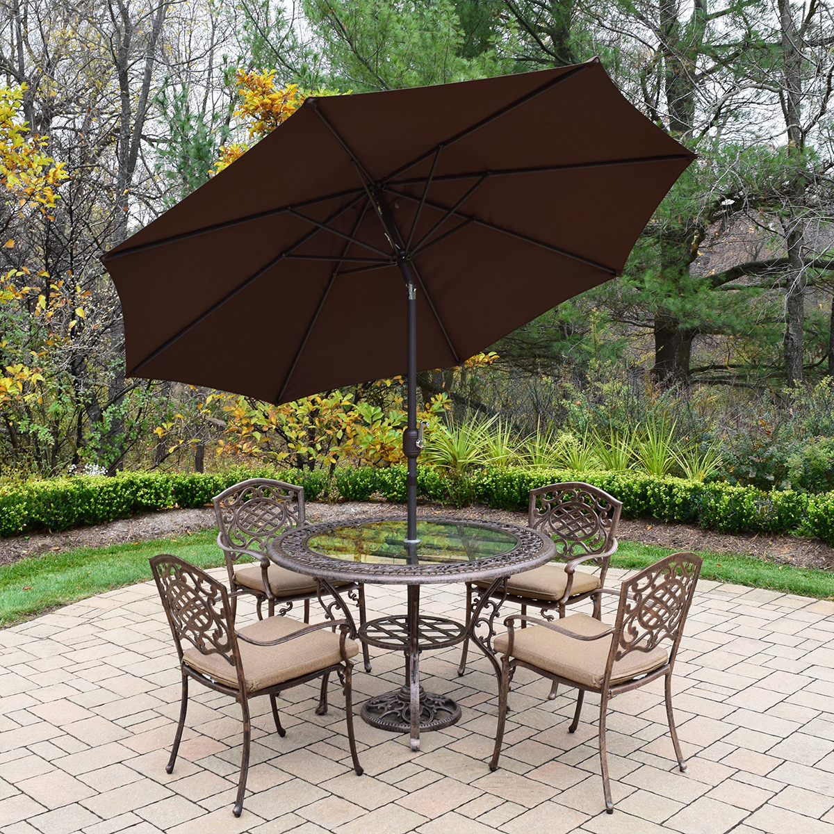 mississippi 7 piece cast aluminum patio dining set with 48 inch round